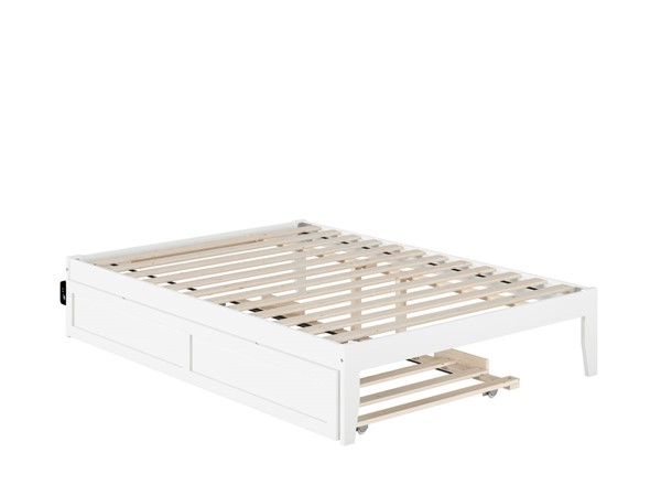 Atlantic Furniture Colorado White Full Bed with USB Turbo Charger and Twin Trundle AG8011232