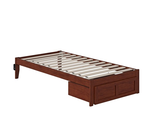 Atlantic Furniture Colorado Walnut Twin Bed with Foot Drawer and USB Turbo Charger AG8012224
