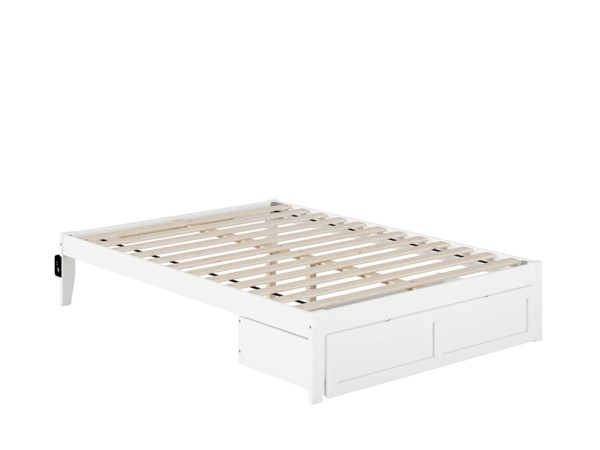 Atlantic Furniture Colorado White Full Bed with Foot Drawer and USB Turbo Charger AG8012232