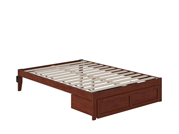 Atlantic Furniture Colorado Walnut Full Bed with Foot Drawer and USB Turbo Charger AG8012234