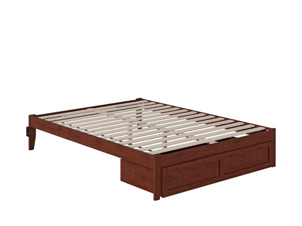 Atlantic Furniture Colorado Walnut Queen Bed with Foot Drawer and USB Turbo Charger AG8012244