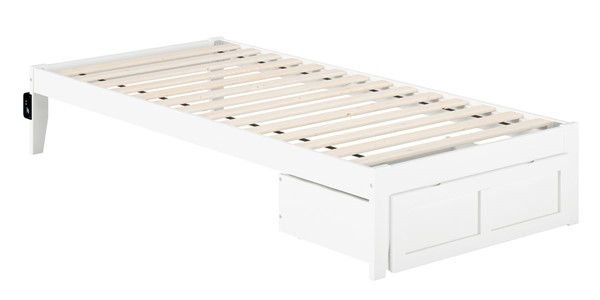 Atlantic Furniture Colorado White Foot Drawer and USB Turbo Charger Twin XL Bed AG8012412