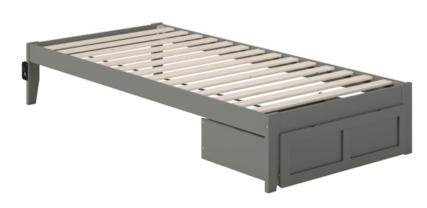 Atlantic Furniture Colorado Grey Foot Drawer and USB Turbo Charger Twin XL Bed AG8012419