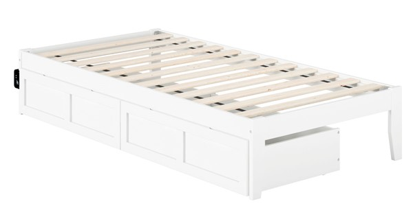 Atlantic Furniture Colorado White USB Turbo Charger and Two Drawers Twin Bed AG8013322