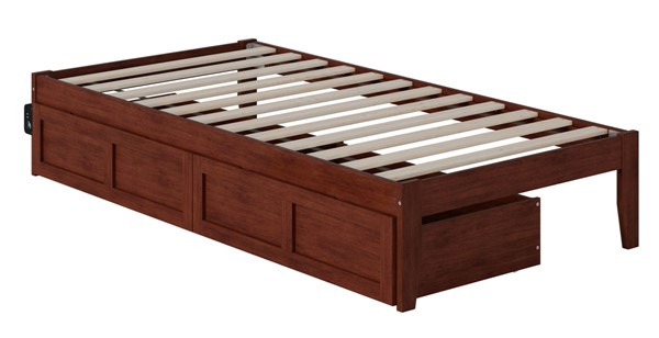 Atlantic Furniture Colorado Walnut USB Turbo Charger and Two Drawers Twin Bed AG8013324