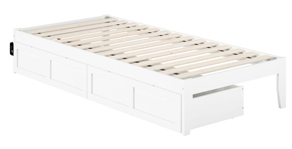 Atlantic Furniture Colorado White USB Turbo Charger and Two Drawers Twin XL Bed AG8013412