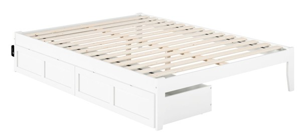 Atlantic Furniture Colorado White USB Turbo Charger and Two Drawers Queen Bed AG8013442