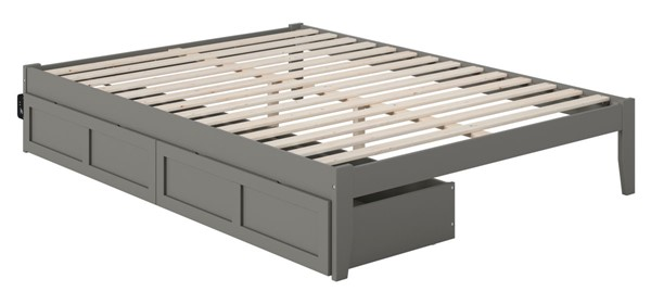 Atlantic Furniture Colorado Grey USB Turbo Charger and Two Drawers Queen Bed AG8013449