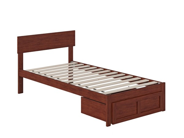 Atlantic Furniture Boston Walnut Twin Bed with Foot Drawer AG8112224