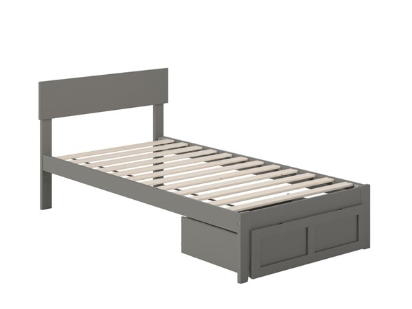 Atlantic Furniture Boston Grey Twin Bed with Foot Drawer AG8112229