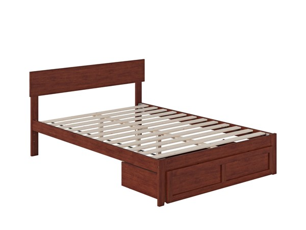 Atlantic Furniture Boston Walnut Full Bed with Foot Drawer AG8112334