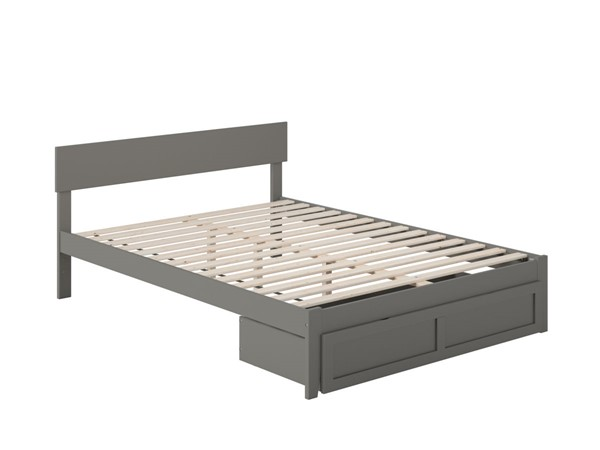 Atlantic Furniture Boston Grey Queen Bed with Foot Drawer AG8112449