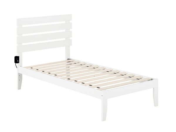 Atlantic Furniture Oxford White Twin Platform Bed with USB Turbo Charger AG8310022