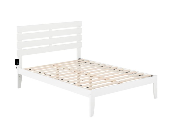Atlantic Furniture Oxford White Full Platform Bed with USB Turbo Charger AG8310032