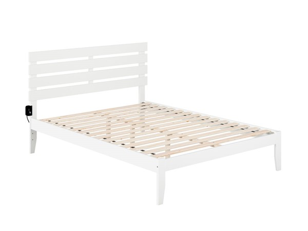 Atlantic Furniture Oxford White Queen Platform Bed with USB Turbo Charger AG8310042
