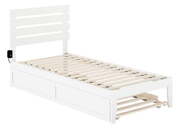 Atlantic Furniture Oxford White Twin XL Trundle Bed with USB Turbo Charger AG8311112