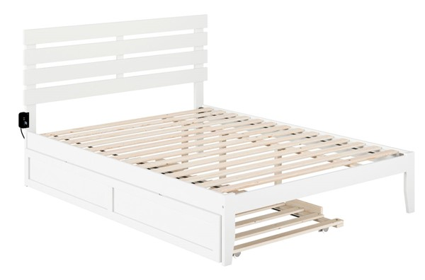 Atlantic Furniture Oxford White USB Turbo Charger Queen Bed with Twin XL Trundle AG8311142