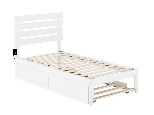 Atlantic Furniture Oxford White Twin Bed with USB Turbo Charger and Twin Trundle AG8311222