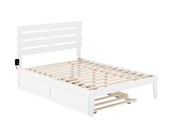 Atlantic Furniture Oxford White Full Bed with USB Turbo Charger and Twin Trundle AG8311232