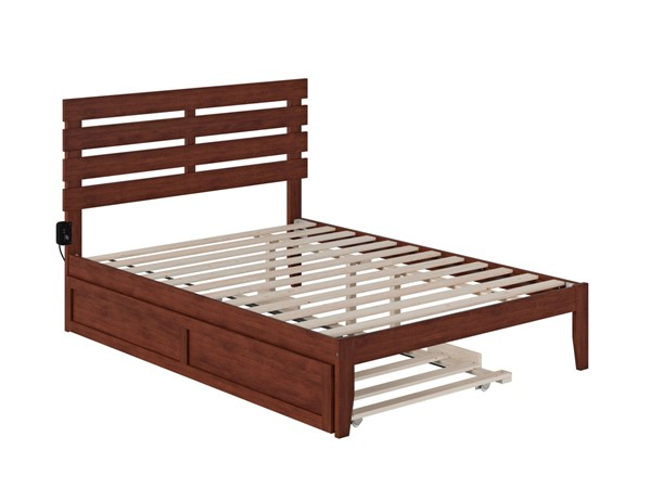 Atlantic Furniture Oxford Walnut Full Bed with USB Turbo Charger and Twin Trundle AG8311234