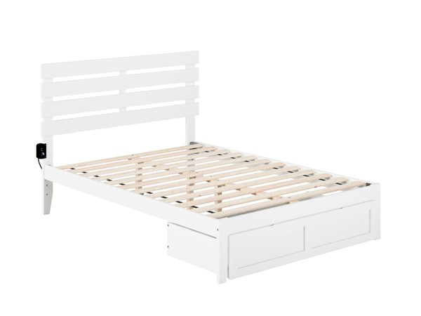 Atlantic Furniture Oxford White Foot Drawer Full Bed with USB Turbo Charger AG8312332