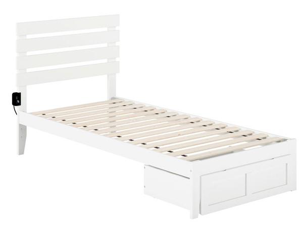 Atlantic Furniture Oxford White Foot Drawer and USB Turbo Charger Twin XL Bed AG8312412