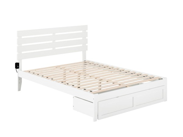 Atlantic Furniture Oxford White Foot Drawer Queen Bed with USB Turbo Charger AG8312442