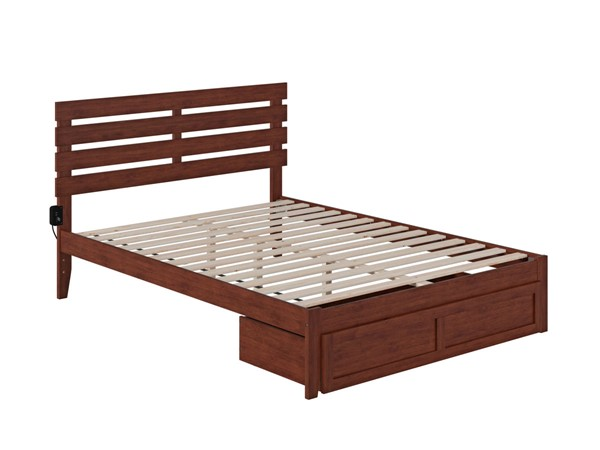 Atlantic Furniture Oxford Walnut Foot Drawer Queen Bed with USB Turbo Charger AG8312444