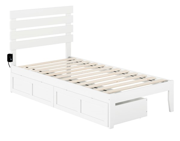 Atlantic Furniture Oxford USB Turbo Charger and Two Drawers Beds AG8313-DWR-BEDS
