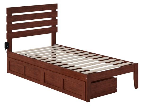 Atlantic Furniture Oxford Walnut USB Turbo Charger and Two Drawers Twin Bed AG8313324