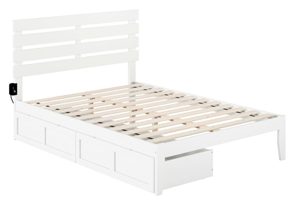 Atlantic Furniture Oxford White USB Turbo Charger and Two Drawers Full Bed AG8313332