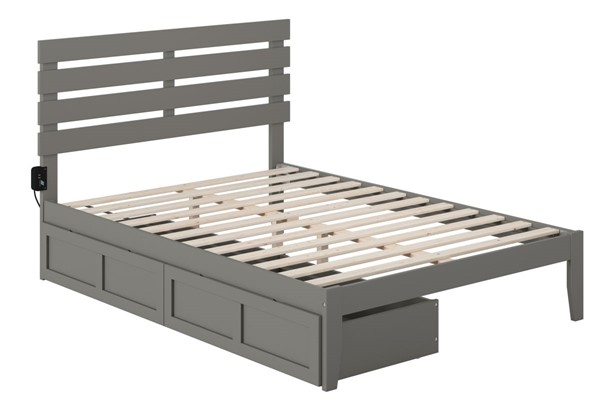 Atlantic Furniture Oxford Grey USB Turbo Charger and Two Drawers Full Bed AG8313339
