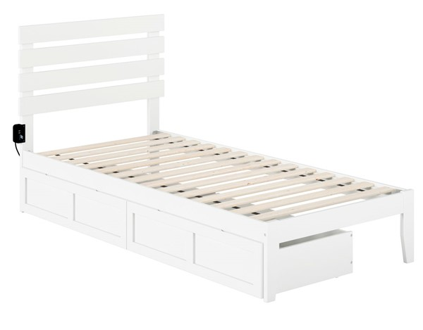 Atlantic Furniture Oxford White USB Turbo Charger and Two Drawers Twin XL Bed AG8313412
