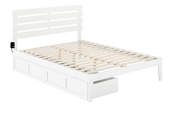 Atlantic Furniture Oxford White USB Turbo Charger and Two Drawers Queen Bed AG8313442