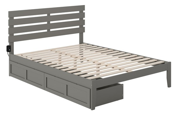 Atlantic Furniture Oxford Grey USB Turbo Charger and Two Drawers Queen Bed AG8313449