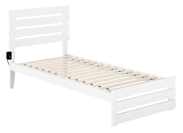 Atlantic Furniture Oxford White Footboard and USB Turbo Charger Twin XL Bed AG8360012