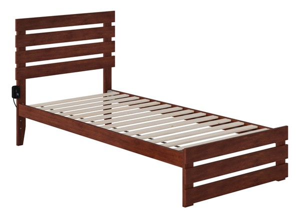 Atlantic Furniture Oxford Walnut Footboard and USB Turbo Charger Twin XL Bed AG8360014