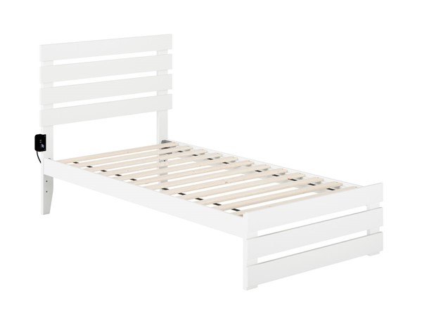 Atlantic Furniture Oxford White Twin Platform Bed with Footboard and USB Turbo Charger AG8360022