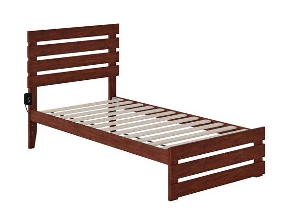 Atlantic Furniture Oxford Walnut Twin Platform Bed with Footboard and USB Turbo Charger AG8360024