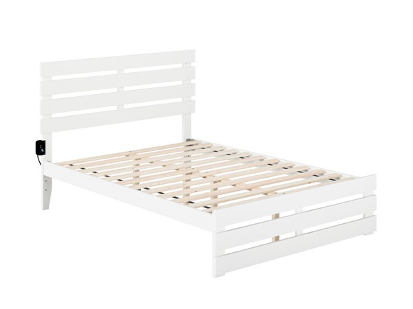 Atlantic Furniture Oxford White Full Platform Bed with Footboard and USB Turbo Charger AG8360032