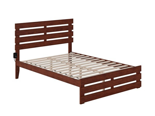 Atlantic Furniture Oxford Walnut Full Platform Bed with Footboard and USB Turbo Charger AG8360034