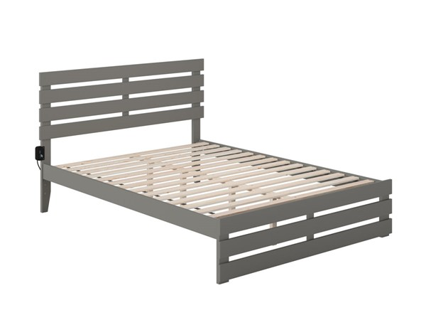 Atlantic Furniture Oxford Grey Queen Platform Bed with Footboard and USB Turbo Charger AG8360049