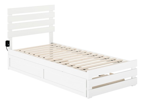 Atlantic Furniture Oxford White Footboard and USB Turbo Charger Twin XL Trundle Bed AG8361112