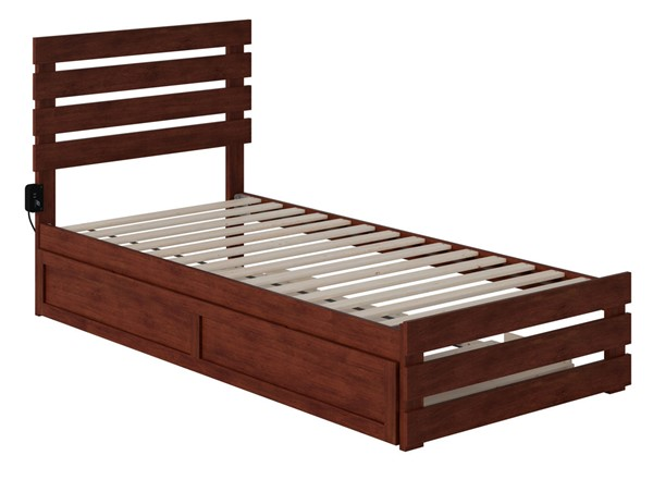 Atlantic Furniture Oxford Walnut Footboard and USB Turbo Charger Twin XL Trundle Bed AG8361114