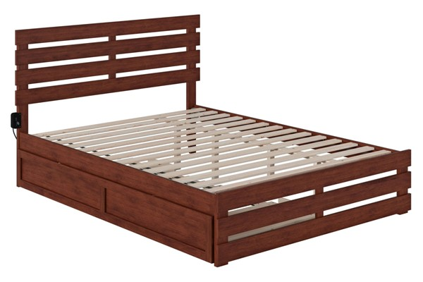 Atlantic Furniture Oxford Walnut Footboard and USB Turbo Charger Queen Bed with Twin XL Trundle AG8361144