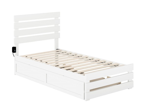 Atlantic Furniture Oxford White Twin Trundle Bed with USB Turbo Charger AG8361222
