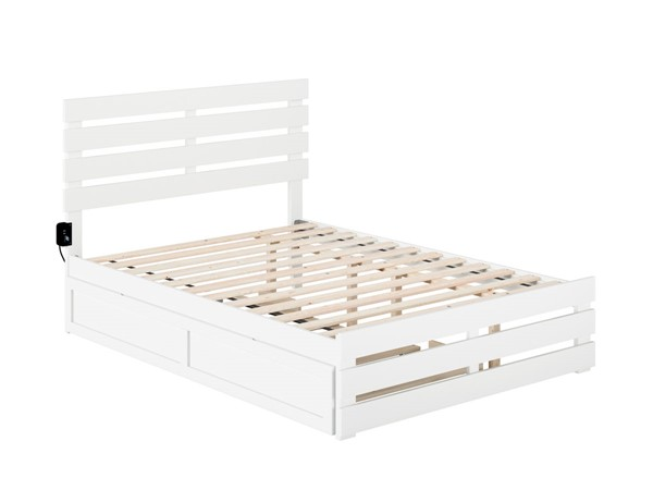 Atlantic Furniture Oxford White Full Trundle Bed with USB Turbo Charger AG8361232