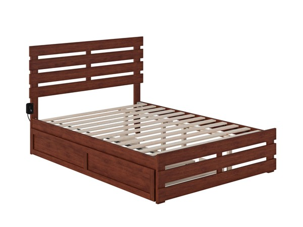 Atlantic Furniture Oxford Walnut Full Trundle Bed with USB Turbo Charger AG8361234