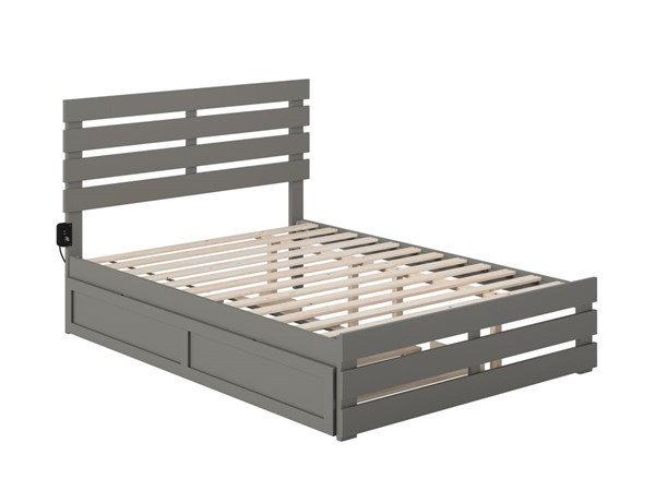 Atlantic Furniture Oxford Grey Full Trundle Bed with USB Turbo Charger AG8361239