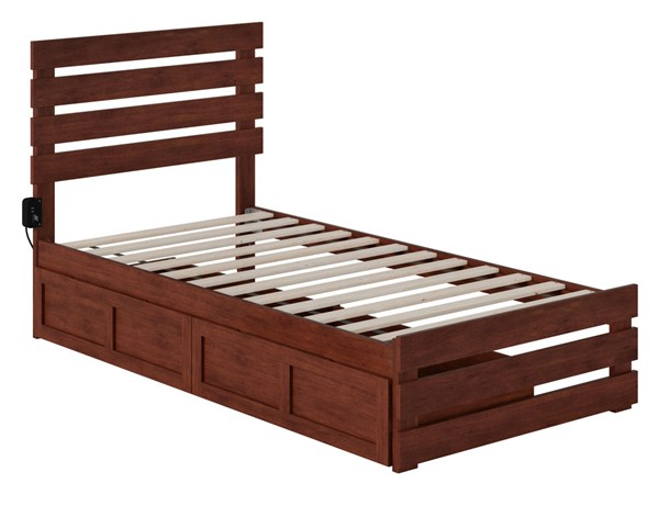 Atlantic Furniture Oxford Walnut Footboard and USB Turbo Charger Twin Two Drawers Bed AG8363324
